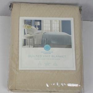Martha Stewart Quilted Knit Blanket Taupe